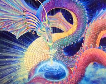 Rainbow Dragon Art | Dragon Painting | Healing Dragon Energy