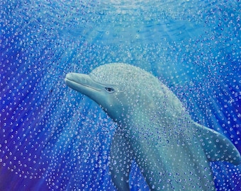 Dolphin Painting | Third Eye Chakra Art | Healing Ocean Painting for Home