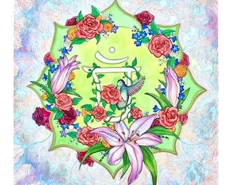 Hummingbird Artwork | Floral Art for Home or Office | Healing Heart Chakra Art |