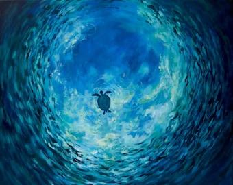 Turtle in Ocean Painting, Original Wall Art, Calming Office Painting Active