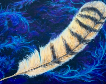 Owl Feather Large Acrylic Painting for Home or Office, Original Artwork