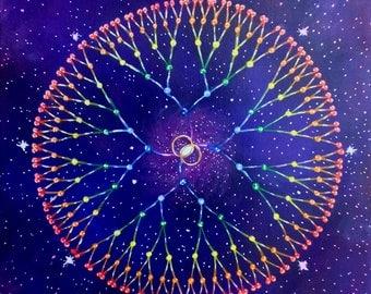 Ancestral Mandala, Sacred Geometry Seven Generations Artwork, Cosmic Portal