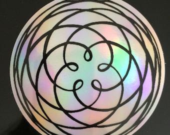 Venus Rose, Kiss of Venus Holographic Sticker, Sacred Geometry