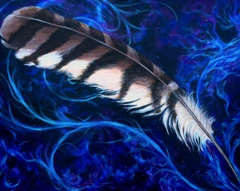 Red Tailed Hawk Feather Large Original Painting for Home or Office