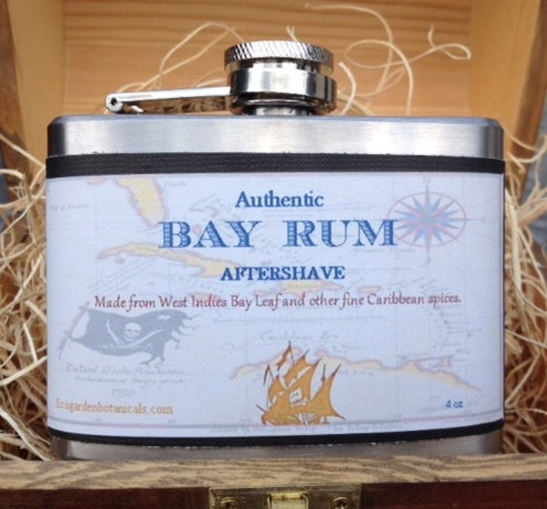 Authentic Bay Rum Aftershave 4 ounce flask