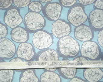 Timber and Leaf Sarah Watts tree rings blue Blend fabrics FQ or more