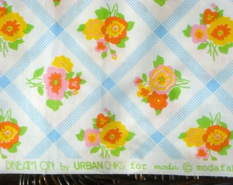 Price DROP : Urban Chiks Dream On blue trellis moda fabric Fat Quarter or more