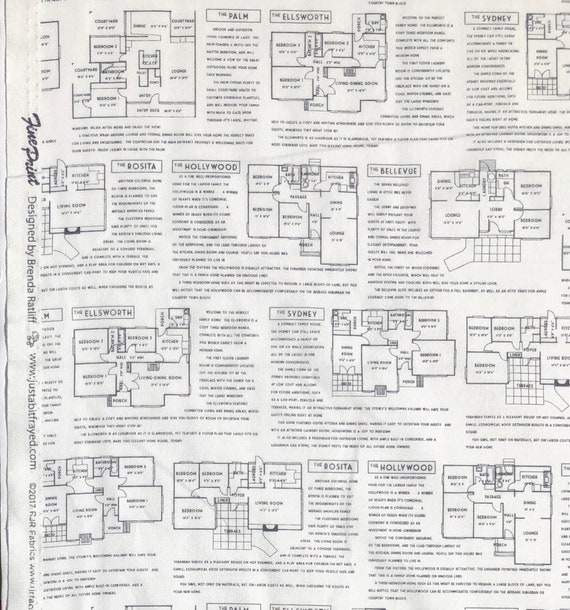 Fine Print House Plans FQ or more Brenda Ratliff JustaBitFrayed RJR fabrics