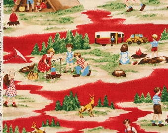 American Jane Happy Campers scenic red moda fabrics FQ or more