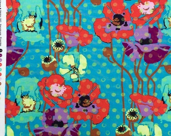 Anna Maria Horner Field Study Raindrops & Poppies teal/candy fabric FQ or more