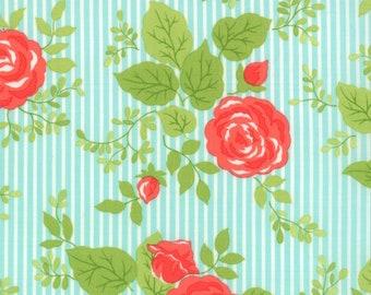 Happy Go Lucky Bonnie & Camille striped floral aqua moda fabric FQ or more OOP HTF