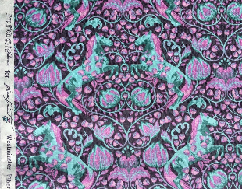 OOP FOX FIELD Pony Play Shade by tula pink cotton fabric