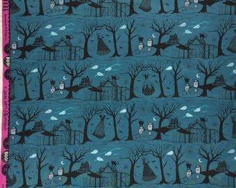 Boo Sarah Watts Halloween Lane blue Cotton + Steel FQ or more