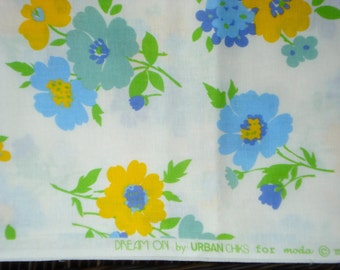 Price DROP : Urban Chiks Dream On funkadelic blue white moda fabric Fat Quarter or more