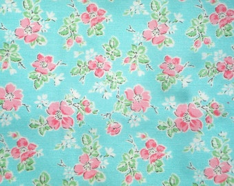 Sweet Shoppe Michelle D'Amore small floral aqua pink Benartex fabric FQ or more
