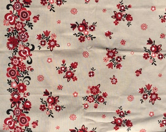 SALE : Lecien Folklore Floral Border print tan FQ or more