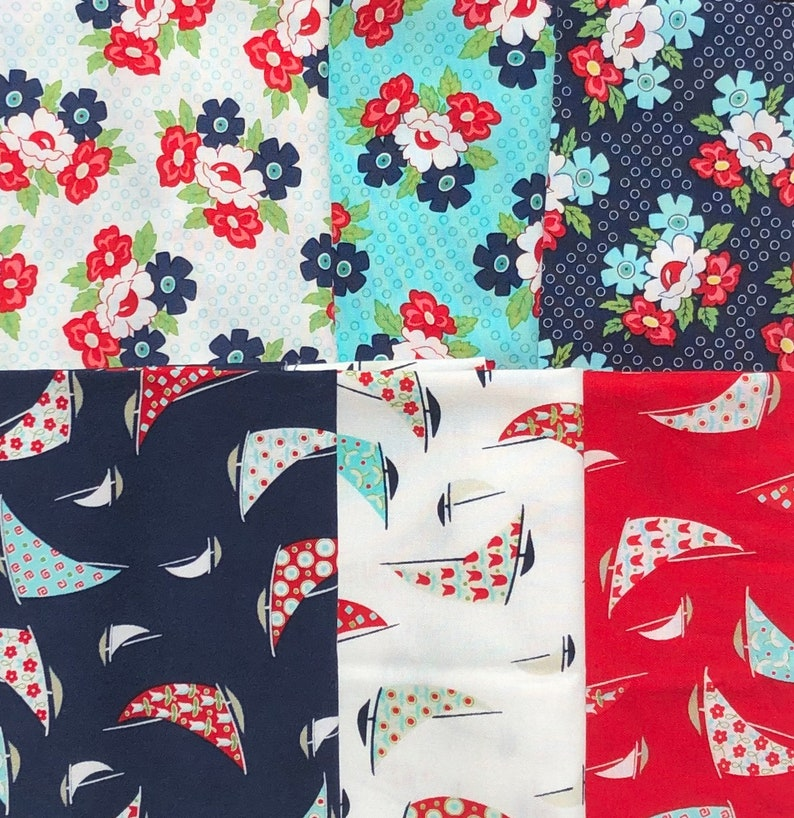 Daysail Bonnie /& Camille 6 FQ set moda fabric OOP HTF