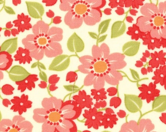 Marmalade Bonnie & Camille small floral pink/cream moda fabric FQ or more