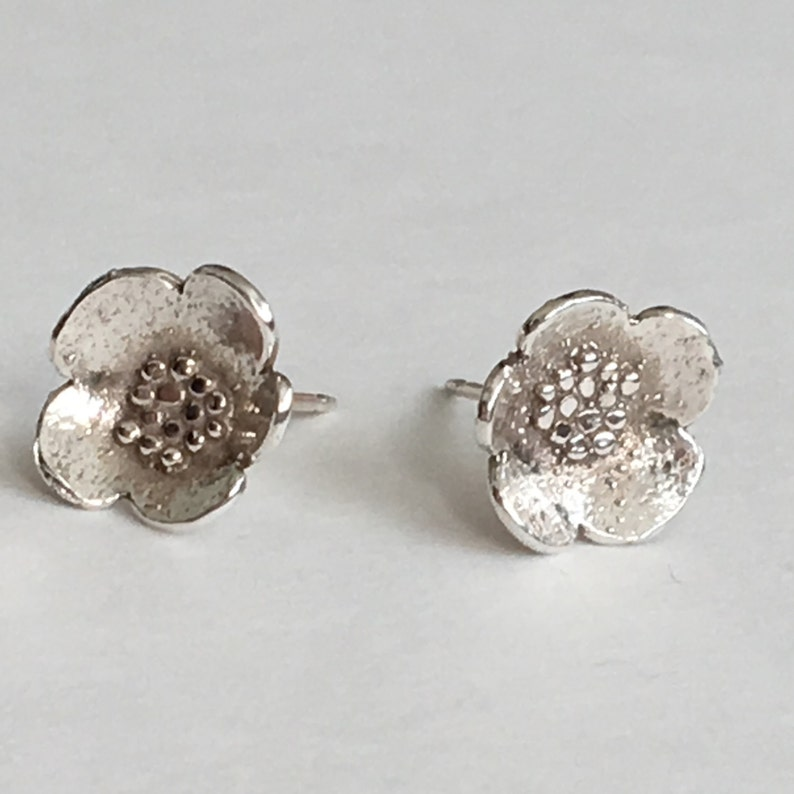 Small Sterling Silver Granulated Blossom Post Earrings image 0