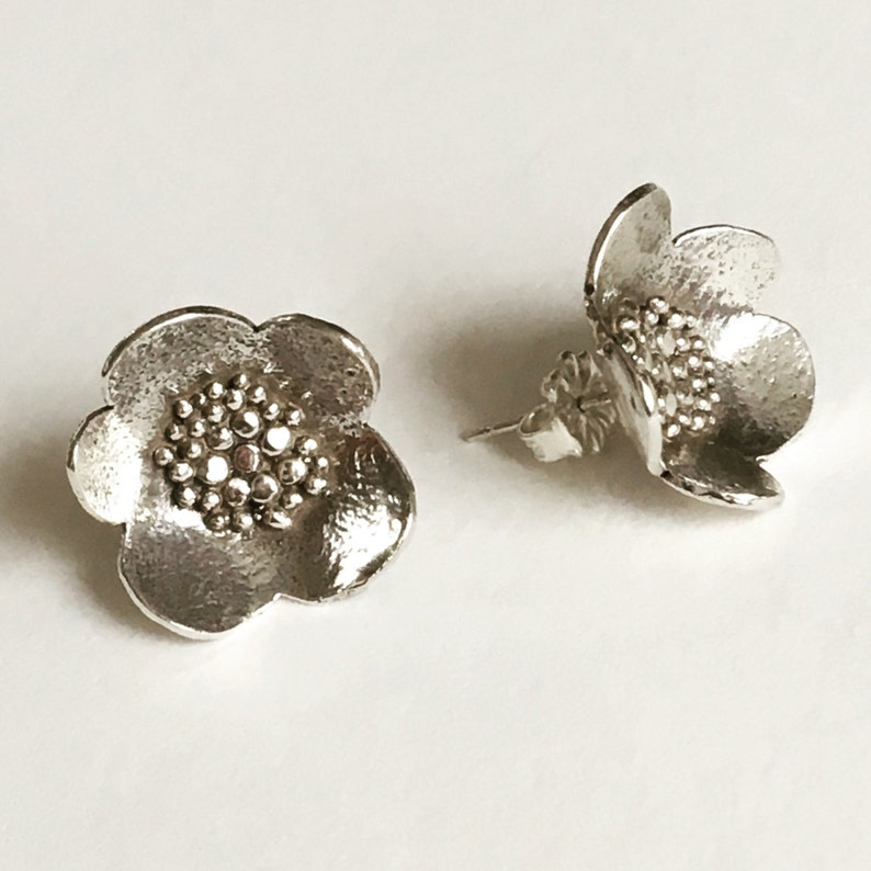 Large Sterling Silver Granulated Blossom Post Earrings image 0