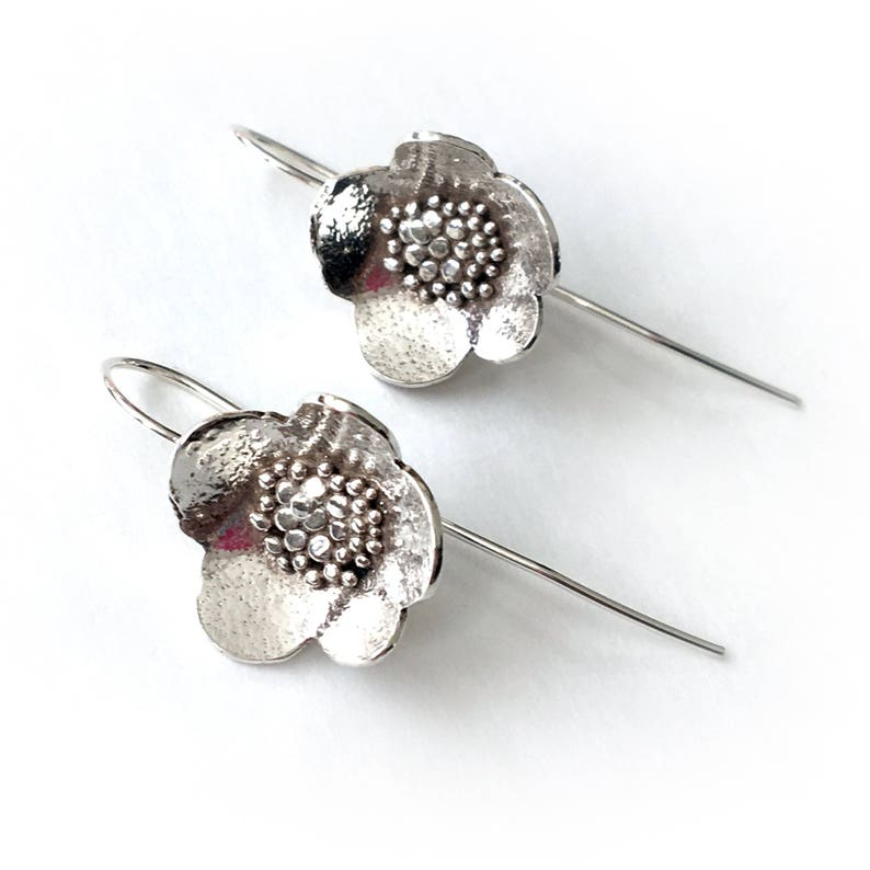 Large Granulated Sterling silver Blossom Drop Earrings image 0