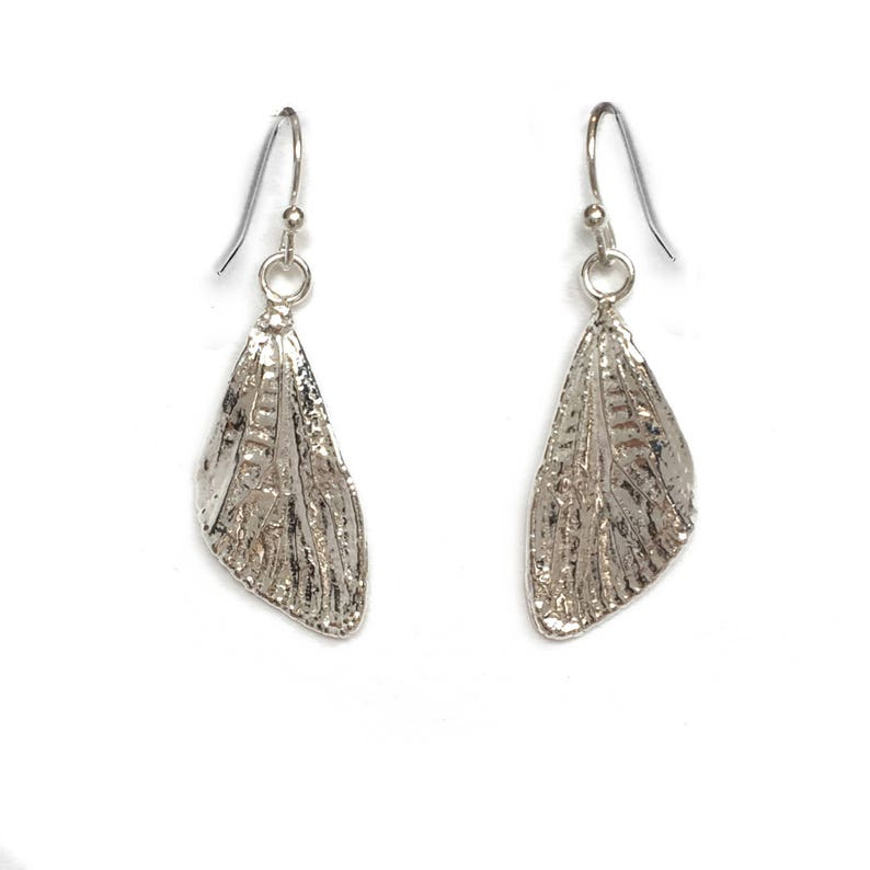 Small Sterling Silver Cicada Wings Dangle Earrings ED-SSCW image 0