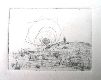 Desert Scene, drypoint