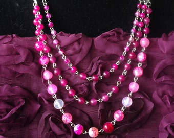 Rose Quartz, Agate, Sterling Silver and Glass Necklace & Earring Set - Mid Century  Modern - Vintage Inspired