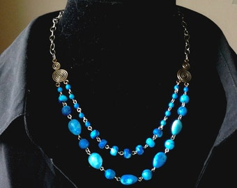 Lacey Blue Agate and Sterling Necklace & Earring Set - Mid Century  Modern - Vintage Inspired