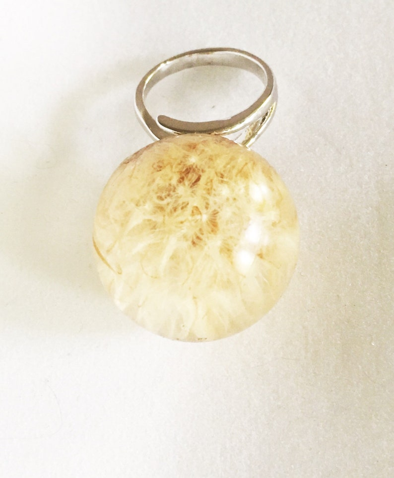 Sterling Silver Dandelion Terrarium Ring Real Flower Jewelry Flower Resin Ring Real Nature Jewelry Seed Wish Plant Ring