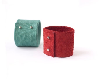 Suede leather cuff bracelet in tomato red or leather cuff bracelet in mint