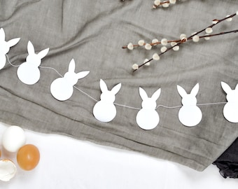 Easter bunny garland made of black paper modern hygge scandi nordic easter decoration by renna deluxe