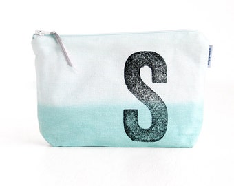 Personalised make up bag dip dyed with monogramunique gift by renna deluxe