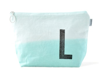 Personalized wash bag makeup bag with monogram dip dyed initial stamped by renna deluxe