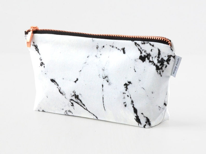 Makeup bag white marble make up bag  pencil case  rose gold image 0