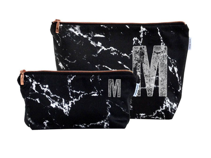 Marble Bag Monogrammed Personalized Marble Makeup Bag