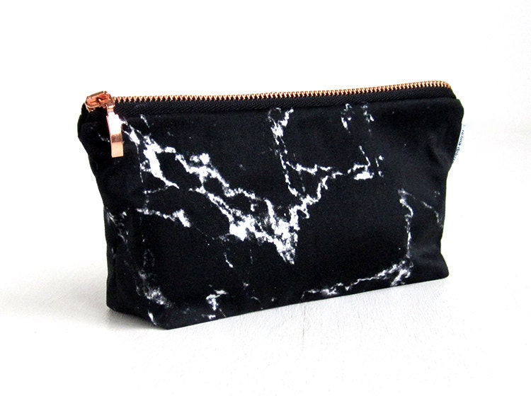 Marble Bag Black Marble Makeup Bag Pouch Case Rose Gold