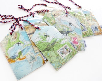 1 luggage tag handmade from vintage maps by renna deluxe
