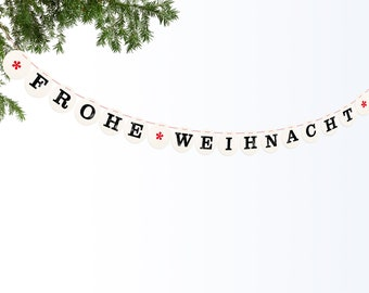 FROHE WEIHNACHT banner // Christmas garland for the holiday season, photo prop, decration renna deluxe
