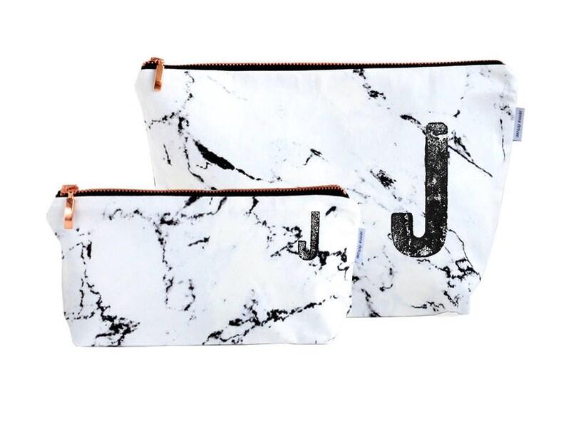 MARBLE bag // monogrammed personalized marble makeup bag image 0