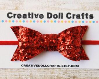 Doll Headband, Red Doll Headband, Doll Glitter Bow, 4th of July Bow, Doll Hair Accessory, 18 Inch Doll, Doll Hair Clip, Patriotic Doll