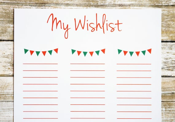 Printable Christmas Wish List For Kids.Items Similar To Printable Christmas List Christmas