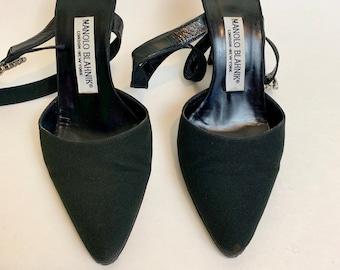 af72fd2f6dd81 Designer Vintage Manolo Blahnik Heels // 1990s Strappy Black Pumps for Prom  with Rhinestones Size 6.5