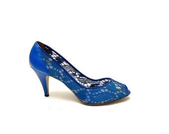 Vintage 1980s Lace Illusion Heels // Electric Blue Leather Slip On Peep Toe Pumps by Nina Size 10