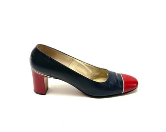 Vintage 1960s Color Block Heels // Blue and Red Leather Workwear Pumps by TA Chapman Size 8