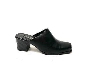 Vintage 1990s Mules // Black Leather Slip On Backless Heels by Sporto Size 7