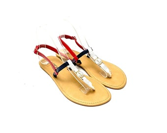 Vintage 1990s Capri Sandals // Strappy Patent Leather Slip On Shoes by Nautica Size 9