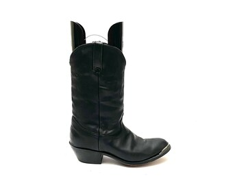 Vintage 1970s Mens Cowboy Boots // Black Leather Western Style Heeled Boots by Durango Size 8.5