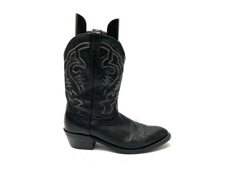 Vintage 1980s Mens Cowboy Boots // Black Leather Western Style Stitched Western Heeled Boots Size 11