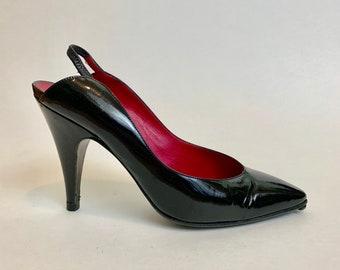 73bf03b013 Vintage Donna Karan Slingback Stiletto Heels    1990s Designer Black Label  Patent Leather Heels Size 6.5    Made in Italy